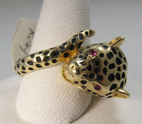 14k yellow gold enamel leopard ring with ruby eyes