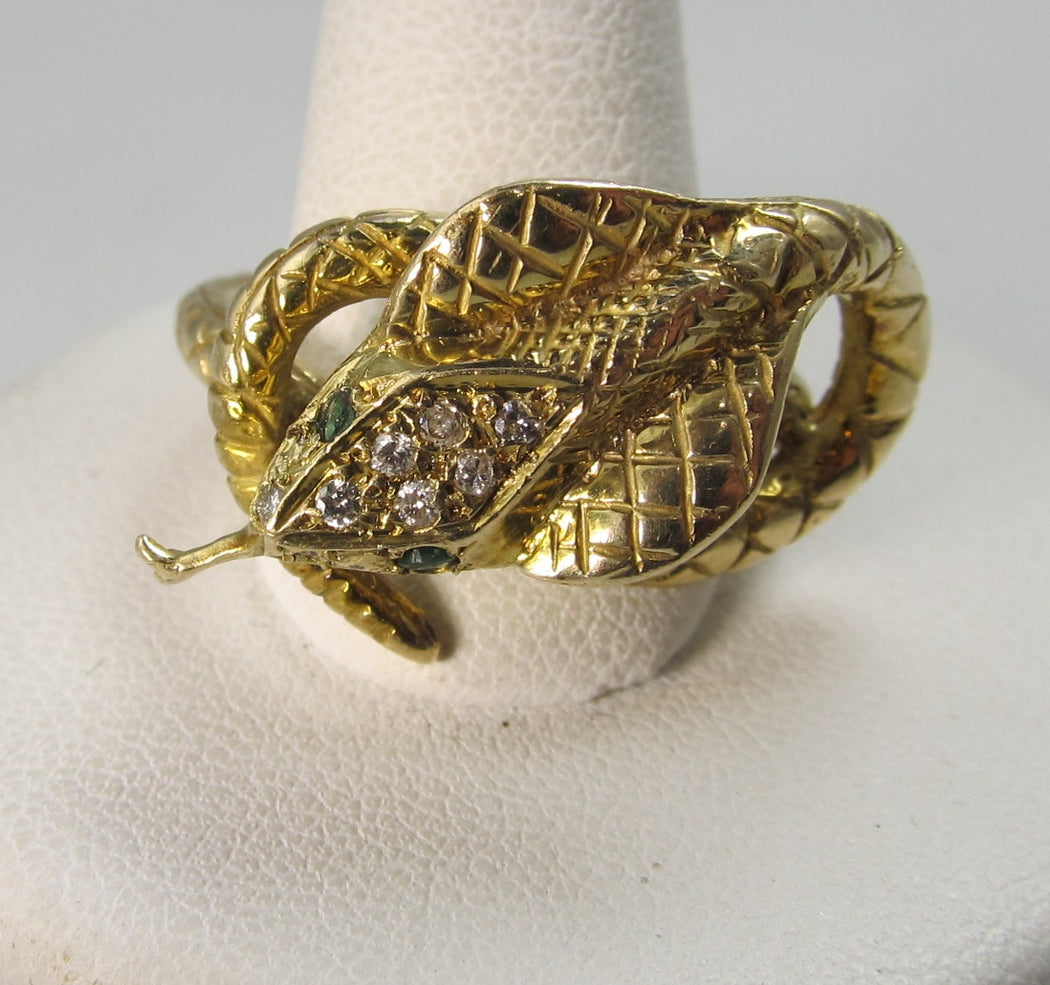 Vintage 14k emerald and diamond cobra snake ring