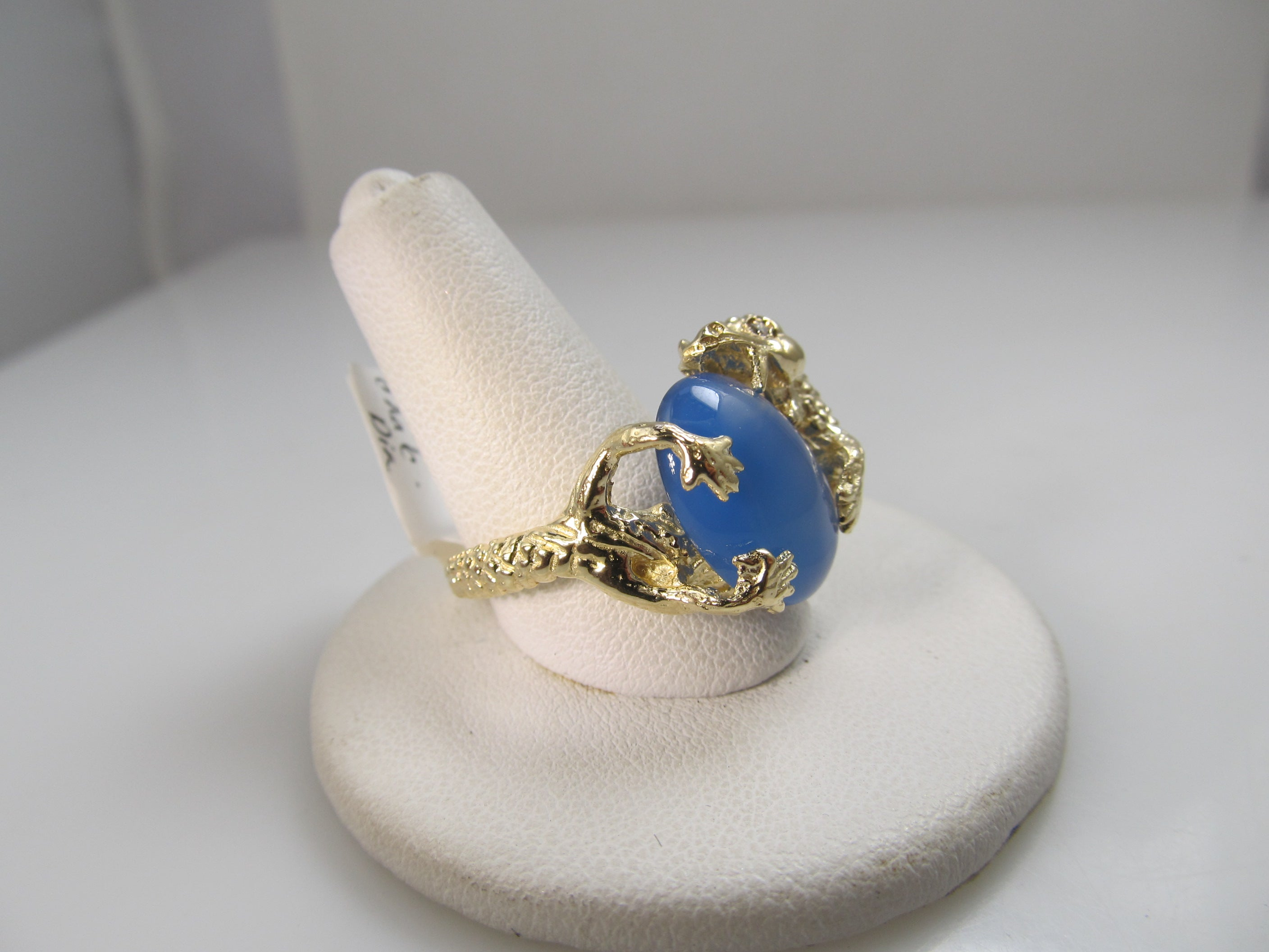 14k gold dragon ring with diamonds and chalcedony