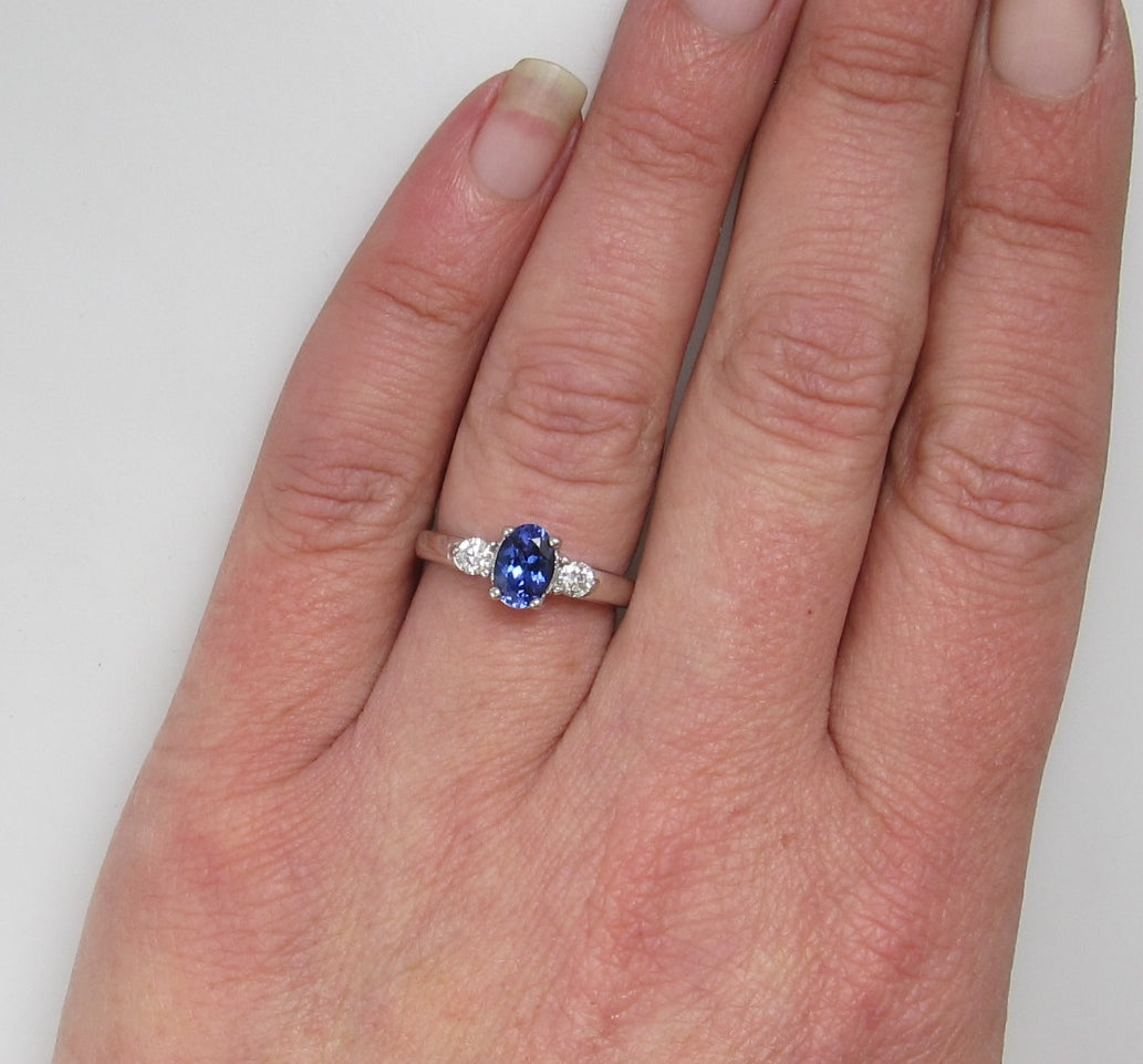14k white gold tanzanite and diamond ring – Victorious