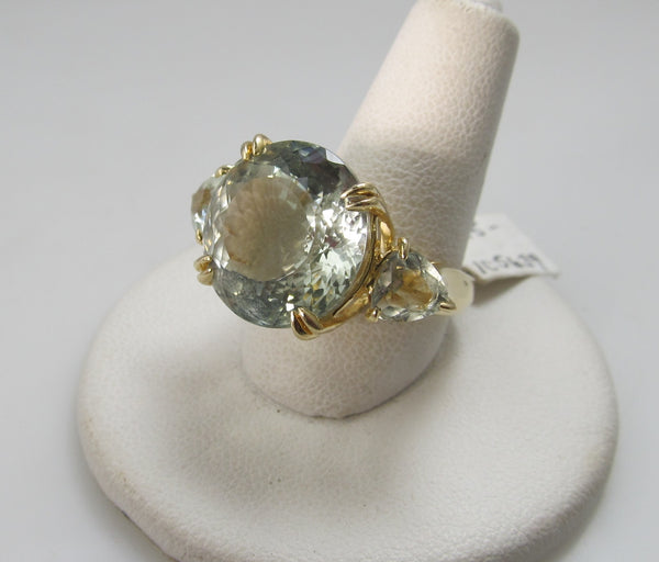 Huge 14k praisolite ring, 14k yellow gold