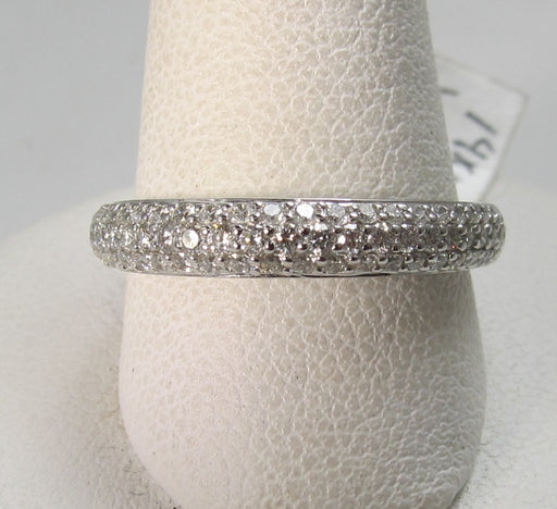 14k white gold .50ct micro pave diamond band