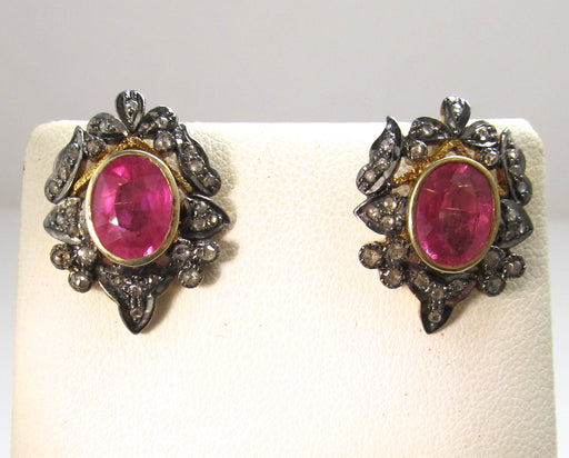 18k and silver earrings with pink tourmalines and rose cut diamonds
