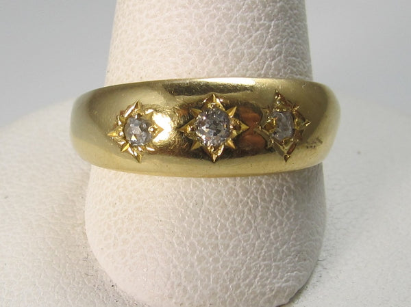 18k yellow gold three diamond ring dated 1892