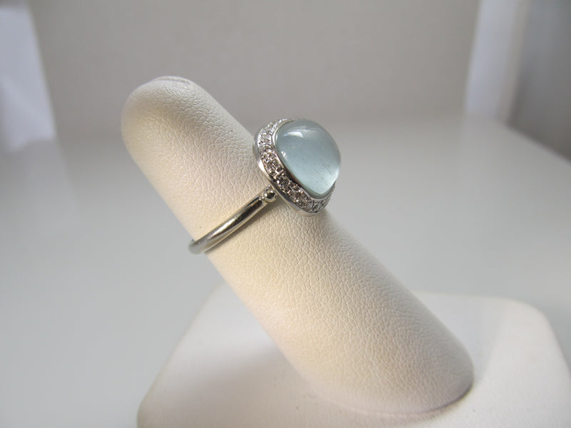 4.00ct cabochon cut aquamarine ring