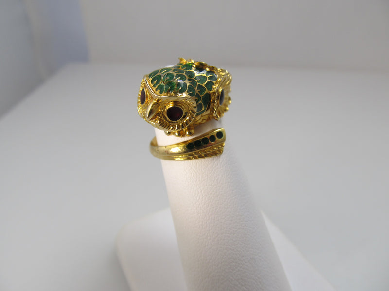 Love!  Vintage owl ring, 18k yellow gold with enamel