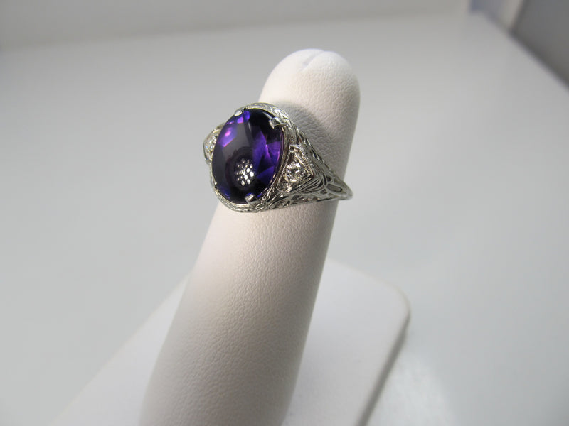 Vintage amethyst and diamond ring, 14k white gold filigree