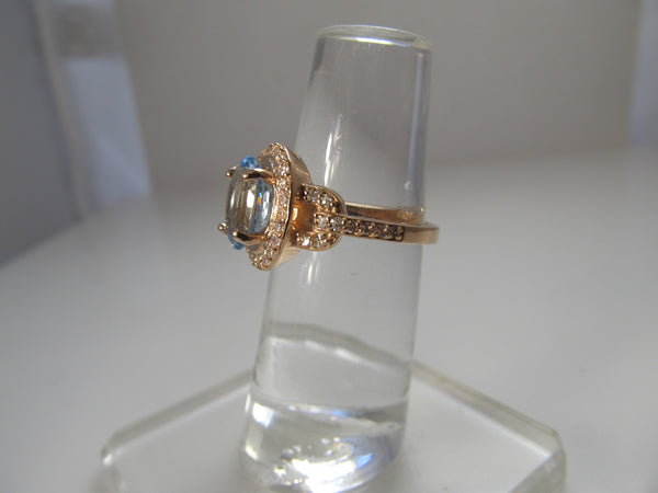 14k rose gold aquamarine diamond ring