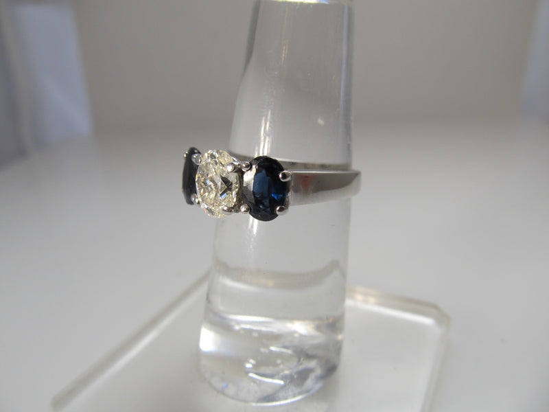 1ct oval diamond and sapphire ring