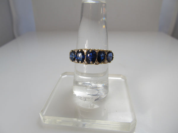 Antique sapphire and diamond band
