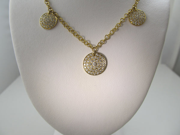 14k yellow gold 2ct pave diamond disc necklace