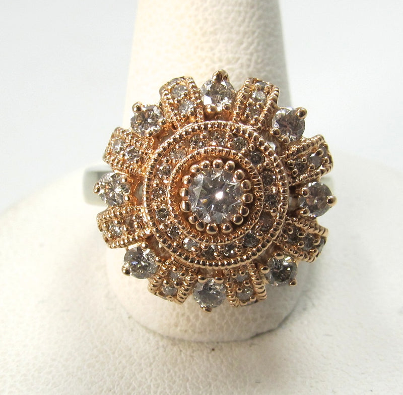 rose gold diamond cluster ring, antique jewelry, victorious, cape may