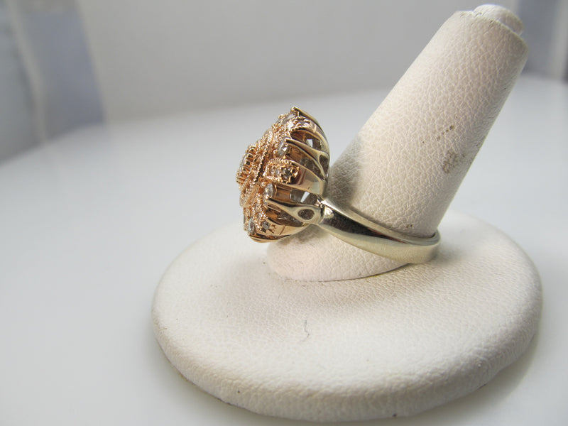 14k rose and white gold ring with 1ct in diamonds