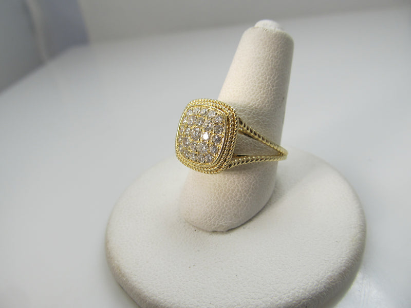 Modern 14k yellow gold ring with .50cts in pave set diamonds