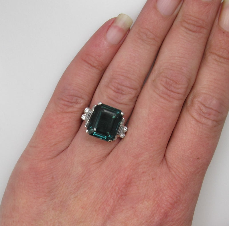 Vintage retro palladium ring with diamonds and an 8.00ct tourmaline