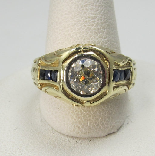 Deco 14k yellow gold 1ct diamond and sapphire ring