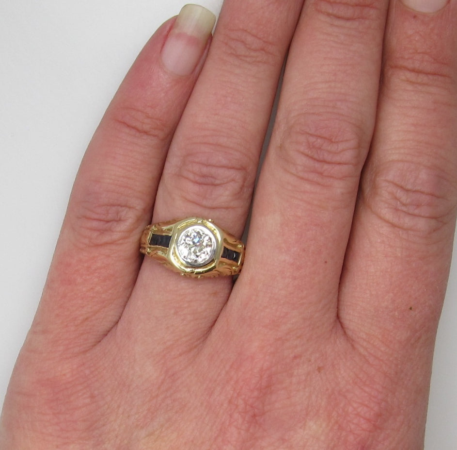 Deco 14k yellow gold 1ct diamond and sapphire ring – Victorious