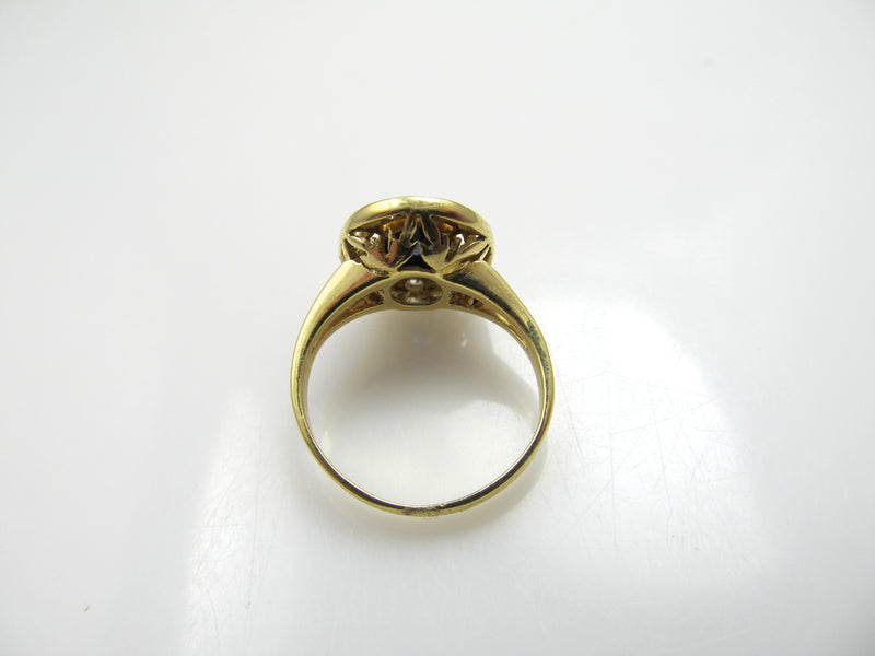 Estate 18k yellow gold sapphire diamond halo ring