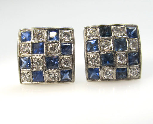 Antique platinum checkerboard earrings with sapphires and diamonds