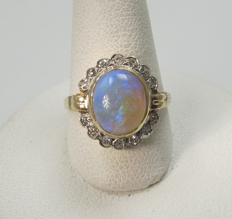 Vintage 2ct opal and diamond ring, circa 1930