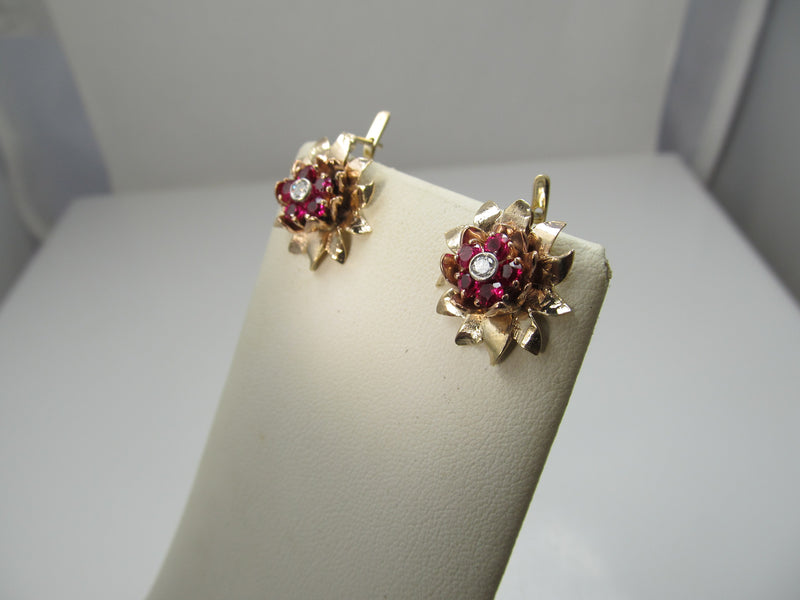 Vintage retro 14k rose gold earrings with rubies and diamonds