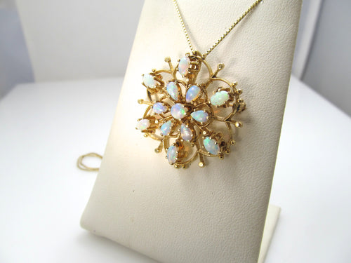 Vintage 14k yellow gold necklace with opals