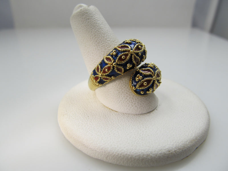 Vintage 18k yellow gold enamel ring