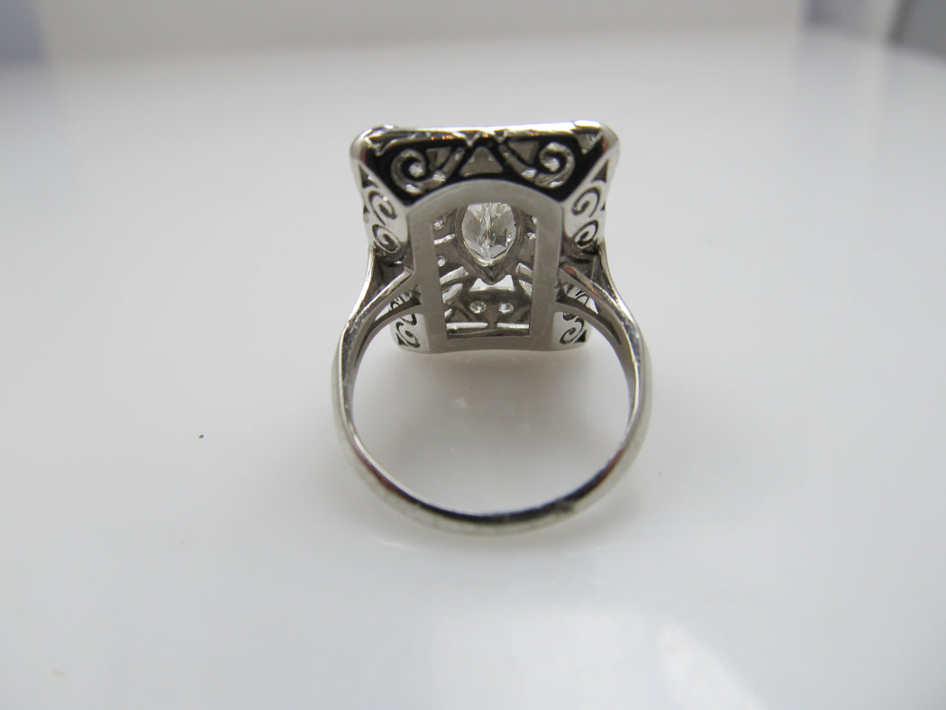 Vintage platinum statement ring, 1.50cts with marquise cut diamonds