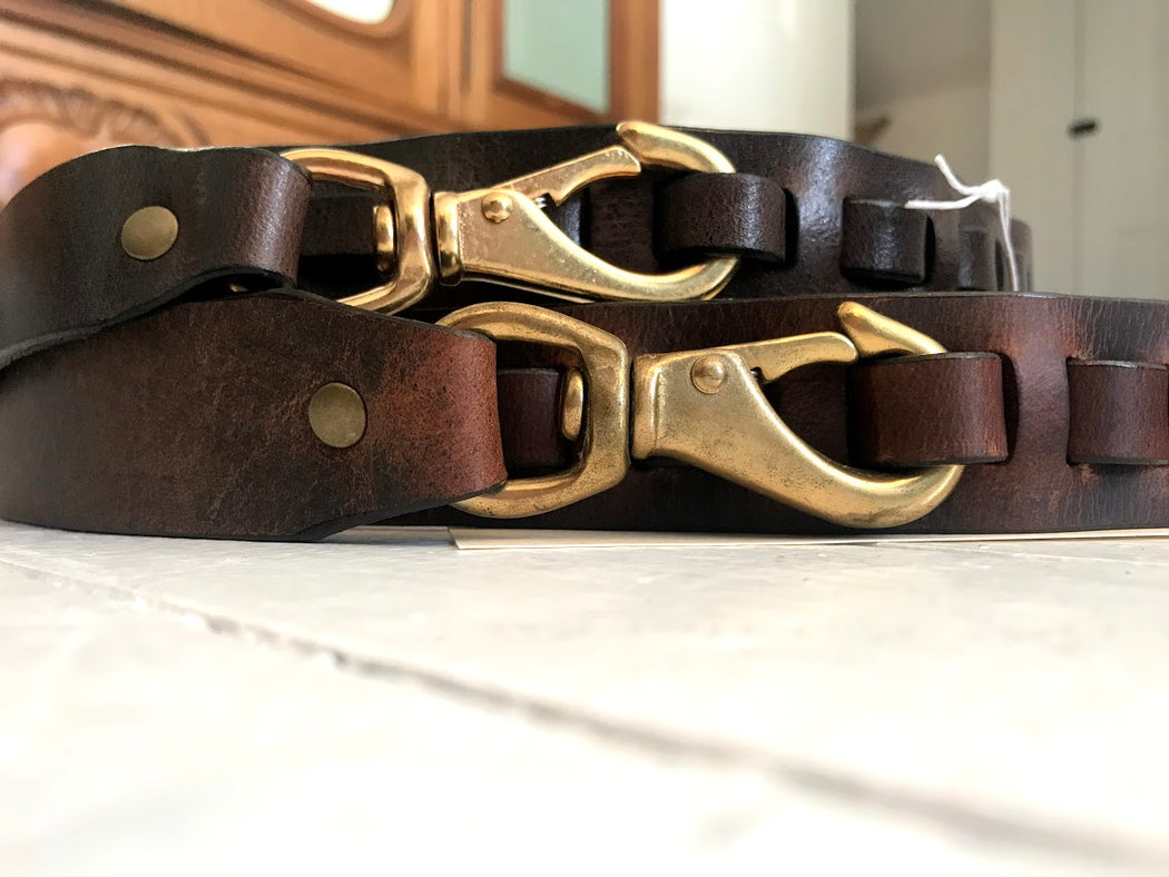Hand Made Swivel snap hook leather belt