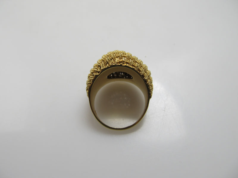18k yellow gold woven dome ring