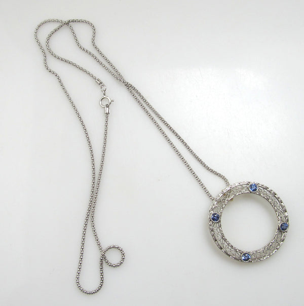 Antique filigree circle necklace with sapphires, circa 1920