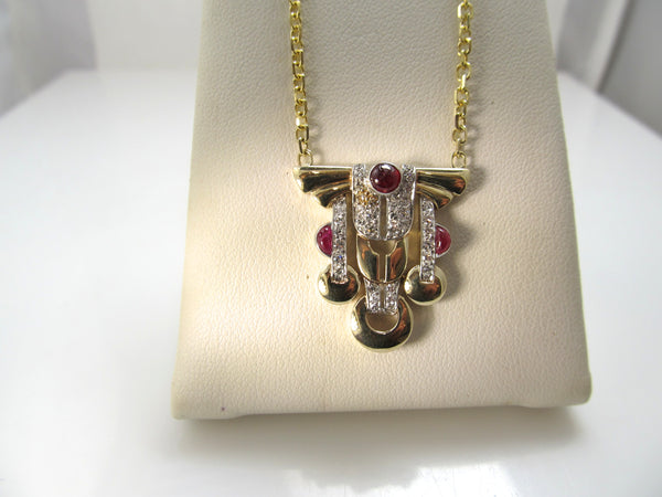 Vintage retro diamond and cabochon ruby necklace