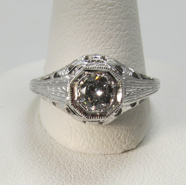 Vintage 18k white gold filigree ring with a .40ct diamond, circa 1920