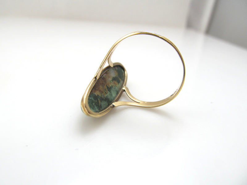 Antique yellow gold ring with natural turquoise, circa 1910