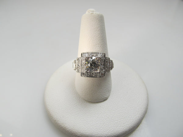 Art Deco platinum ring with a .97ct center diamond, circa 1920