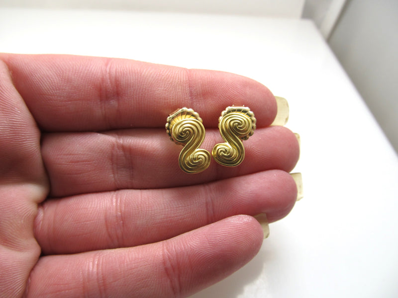 Tiffany & Co 18k yellow gold scroll earrings