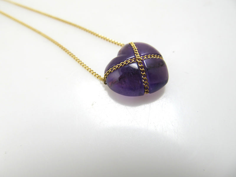 Tiffany & Co 18k wrapped amethyst heart necklace