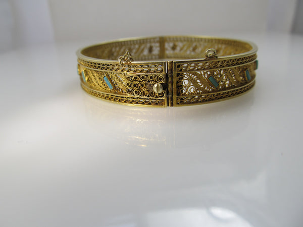 Antique 14k yellow gold filigree bangle bracelet with turquoise