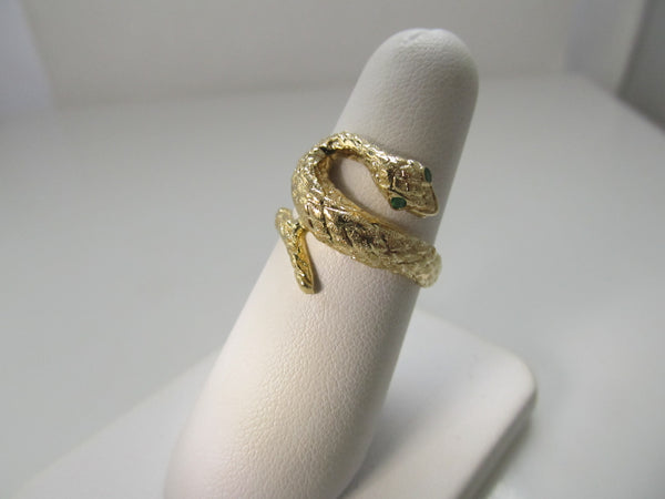Vintage snake ring with emerald eyes, 14k yellow gold
