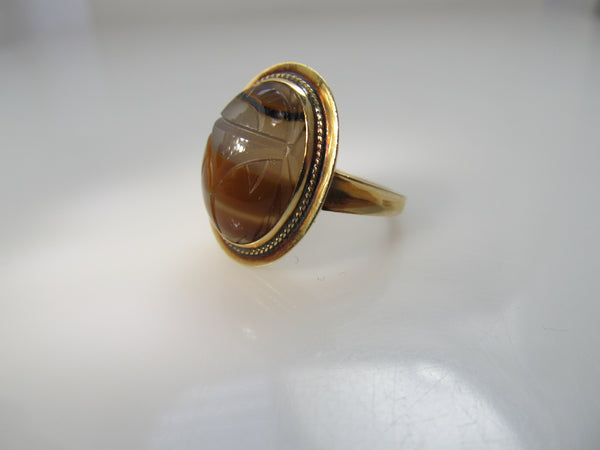 Vintage banded agate scarab ring, 14k yellow gold