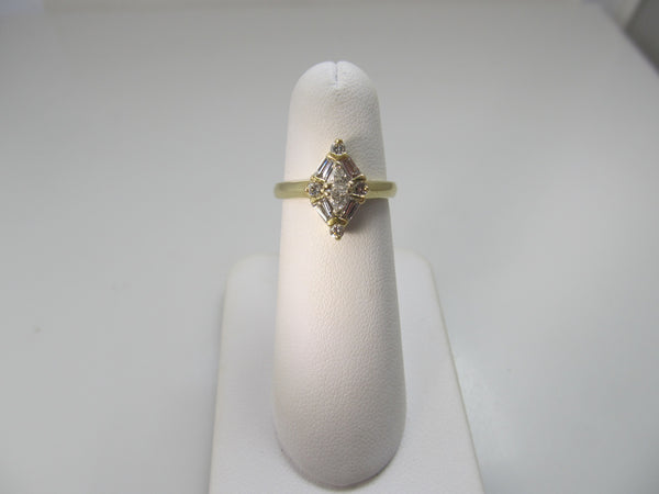 Vintage marquise shaped diamond ring, 14k yellow gold