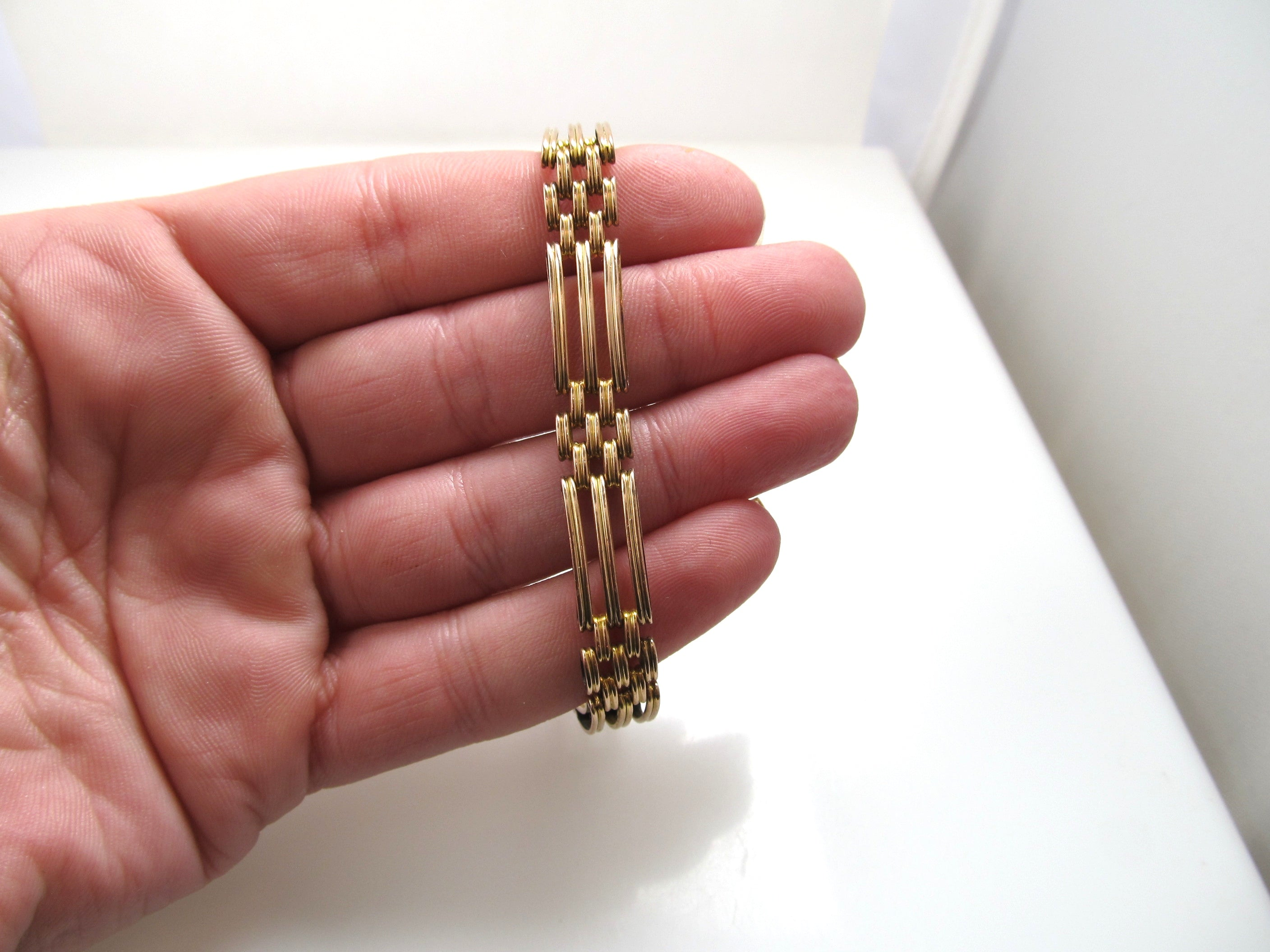 Antique 9kt rose gold flat link bracelet