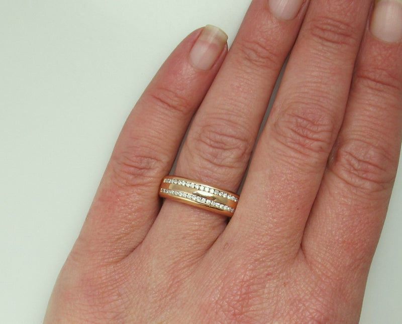 Modern 18k rose gold double row diamond band