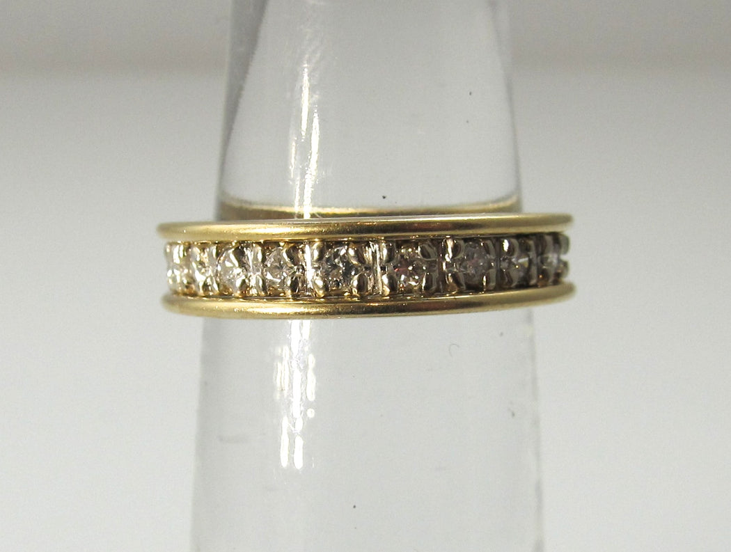 14k white and yellow gold 3/4ct diamond eternity band