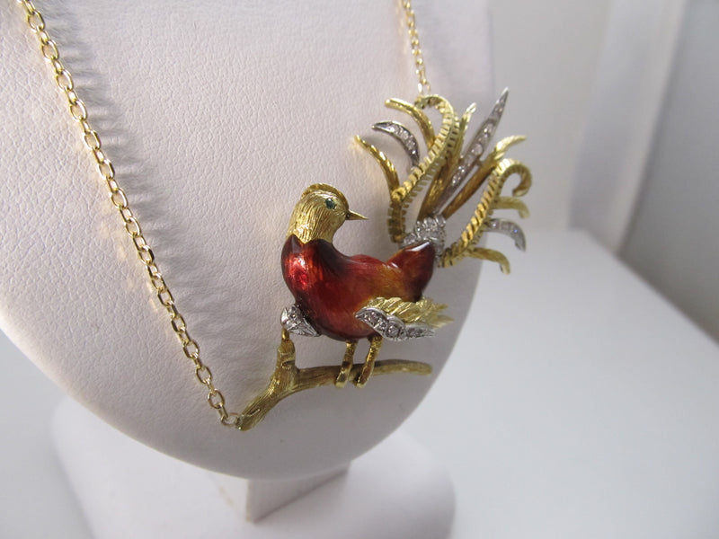 Vintage enamel bird necklace with diamonds, 18k yellow gold