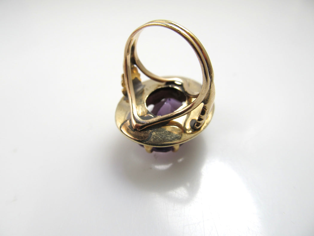Antique 14k gold amethyst ring with pearls and black enamel