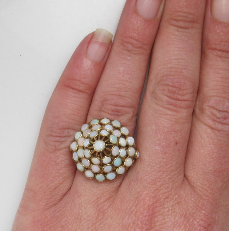 Vintage 14k opal dome cluster cocktail ring