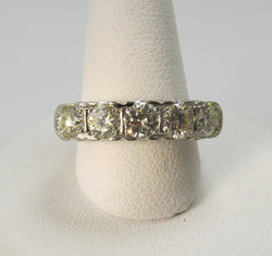 14k white gold 5 stone diamond band