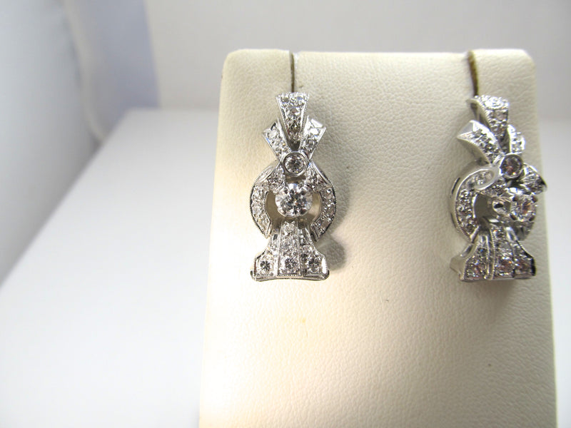 Vintage platinum 2ct diamond drop earrings, circa 1920