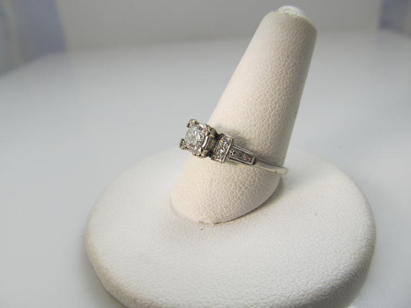 Vintage palladium old cut diamond engagement ring